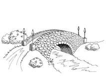 Illustrazione del paesaggio del fiume White del nero di arte grafica del ponte Fotografia Stock