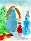 Illustrazione del paesaggio del nuovo anno di inverno Fotografie Stock