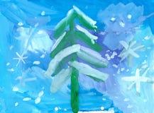 Illustrazione del paesaggio del nuovo anno di inverno Fotografia Stock Libera da Diritti