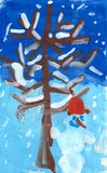 Illustrazione del paesaggio del nuovo anno di inverno Fotografia Stock