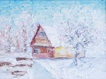 Illustrazione del paesaggio di inverno con la casa Pittura, olio e tela Fotografia Stock
