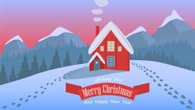 Illustrazione del paesaggio di Natale di notte di progettazione semplice Fotografia Stock