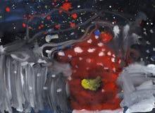 Illustrazione del paesaggio di notte di inverno Fotografie Stock