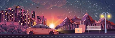 Illustrazione del paesaggio di notte, montagne, tramonto, viaggio, natura, automobile, vita notturna della città, banco, bagagli, Fotografia Stock