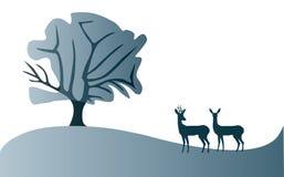 Illustrazione del paesaggio di Roe Deer Fotografie Stock