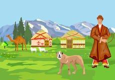 Illustrazione del paesaggio del Kazakistan Fotografia Stock