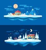Illustrazione del paesaggio urbano di inverno di progettazione piana Fotografia Stock
