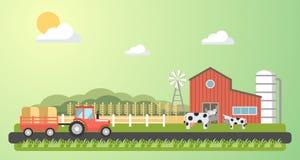 Illustrazione del paesaggio del villaggio dell'azienda agricola illustrazione di stock