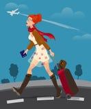 Illustrazione del passaporto di viaggio della tenuta della donna Immagini Stock