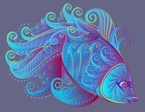 Illustrazione del pesce fantastico di paese delle fate Immagini Stock