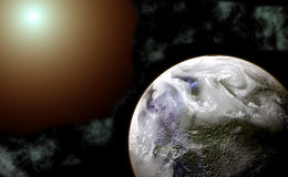 Illustrazione del pianeta e della stella royalty illustrazione gratis