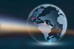 Illustrazione del pianeta Terra 3D Mappa di pixel trasparente con gli elementi luminosi su un fondo astratto scuro Tecnologie del royalty illustrazione gratis