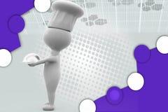 illustrazione del piatto della tenuta del cuoco unico 3d Immagini Stock Libere da Diritti