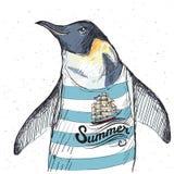 Illustrazione del pinguino del pirata su fondo strutturato nel vettore Immagini Stock Libere da Diritti