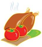 Illustrazione del pollo e del pomodoro Fotografie Stock