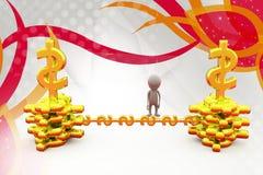 illustrazione del ponte dei soldi dell'uomo 3d Fotografie Stock Libere da Diritti