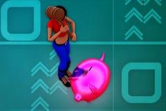 illustrazione del porcellino salvadanaio della donna 3d Fotografia Stock