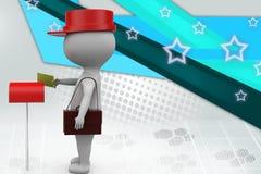 illustrazione del postino dell'uomo 3d Fotografia Stock Libera da Diritti