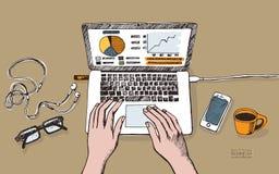 Illustrazione del posto di lavoro con il computer portatile su fondo marrone Fotografia Stock
