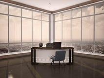 Illustrazione del posto di lavoro moderno nell'ufficio con le finestre a Immagini Stock Libere da Diritti