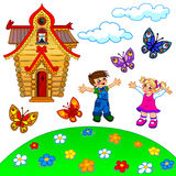Illustrazione del prato inglese, dei bambini, della casa, delle nuvole e del butterflie del fumetto Immagine Stock Libera da Diritti