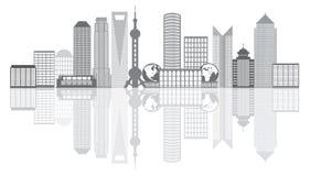 Illustrazione del profilo di gradazione di grigio dell'orizzonte della città di Shanghai Fotografie Stock