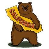 Illustrazione del programma della California della holding dell'orso di Brown Fotografia Stock Libera da Diritti