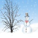 Illustrazione del pupazzo di neve di inverno Fotografia Stock