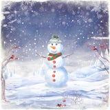 Illustrazione del pupazzo di neve, su un fondo di neve e dei fiocchi di neve illustrazione vettoriale