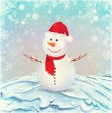 Illustrazione del pupazzo di neve, su una priorità bassa di neve illustrazione di stock