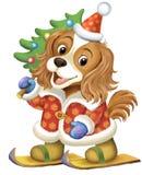 Illustrazione del quadro televisivo di un cane nel ruolo di Santa Claus con corrente alternata Fotografia Stock