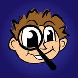 Illustrazione del ragazzo del fumetto con la lente d'ingrandimento Immagine Stock Libera da Diritti