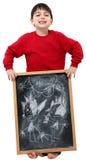 Illustrazione del ragazzo di banco sulla lavagna Immagine Stock Libera da Diritti