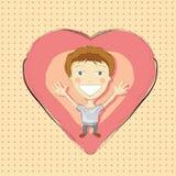 Illustrazione del ragazzo disegnato a mano con cuore rosa Immagini Stock Libere da Diritti
