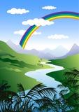 Illustrazione del Rainbow nel paesaggio verde Fotografie Stock Libere da Diritti