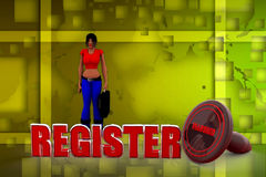 illustrazione del registro della donna 3D Fotografia Stock