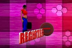 illustrazione del registro della donna 3D Immagine Stock