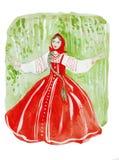 Illustrazione del ritratto femminile di bellezza in vestito nazionale russo: Prendisole bordate e ricamate della camicia Fotografia Stock Libera da Diritti