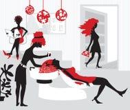 Illustrazione del salone di bellezza stilizzato per wome illustrazione di stock