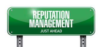 illustrazione del segnale stradale della gestione di reputazione Immagine Stock