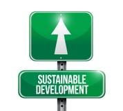Illustrazione del segnale stradale di sviluppo sostenibile Immagini Stock Libere da Diritti