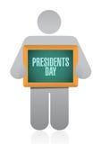 illustrazione del segno del bordo dell'avatar di giorno di presidenti illustrazione di stock