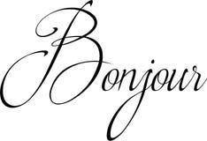 Illustrazione del segno del testo di Bonjour Fotografie Stock