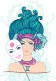 Illustrazione del segno dello zodiaco dei gemini come bella ragazza.  Isolato Immagini Stock