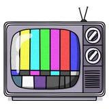 Illustrazione del set televisivo dell'annata con il reticolo di prova Fotografia Stock Libera da Diritti