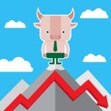 Illustrazione del simbolo del toro della tendenza del mercato azionario Immagini Stock