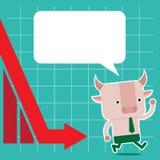 Illustrazione del simbolo del toro della tendenza del mercato azionario Fotografie Stock Libere da Diritti