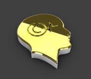Illustrazione del simbolo di Copyright dell'oro su fondo grigio Immagini Stock