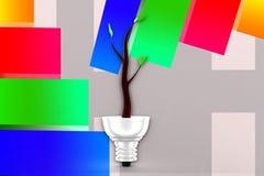 illustrazione del sistema di illuminazione di 3d Eco Immagini Stock