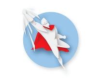 Illustrazione del supereroe di volo, icona di potere di affari illustrazione vettoriale